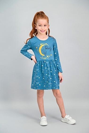Tweety  Lisanslı Koyu  Petrol Kız Çocuk Elbise Yeşil